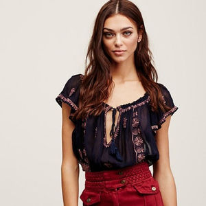 Free People Paisley Indigo Top embroidered